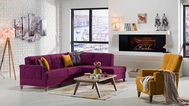 CANTONA sectional Zigana Purple / Yellow