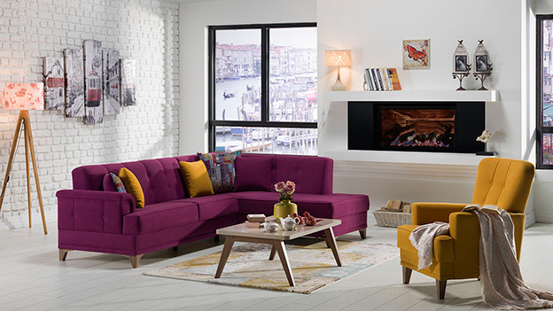 CANTONA sectional Zigana Purple / Yellow
