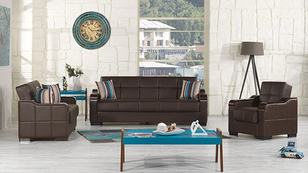 Metropol Sofabed - Brown Leatherette