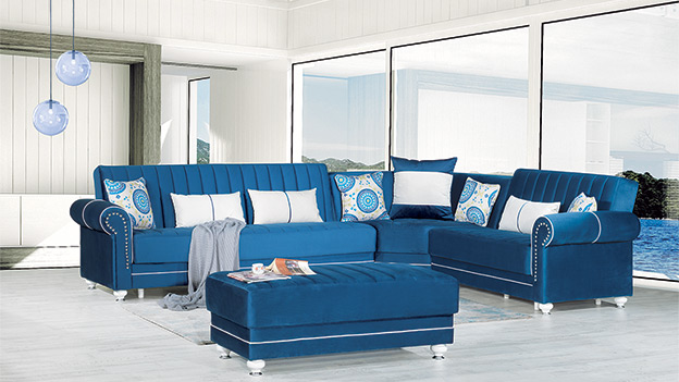 Monroe Sectional - Riva Dark Blue