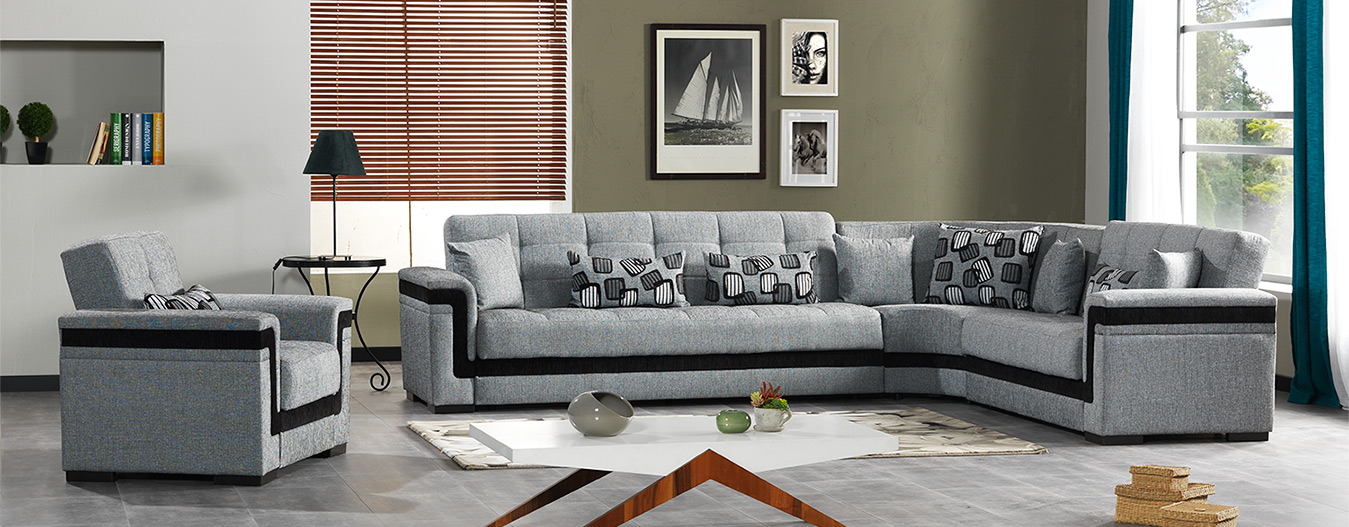 Brava Sectional Stone Black