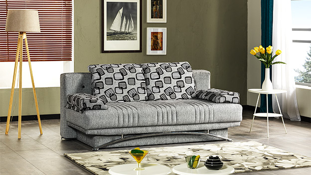 Fontana Sofa Bed - Stone Black (Queen Size)