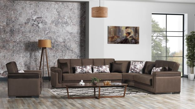 Bravo Sectional with sleeper_Otter Brown